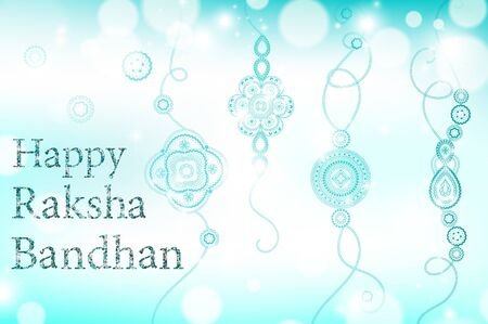 raksha: Beautiful creative rakhi on shiny background for Indian festival of brother and sister love, Happy Raksha Bandhan celebration.
