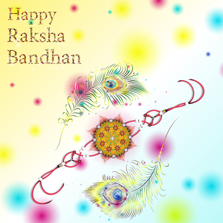 Beautiful creative rakhi on shiny background for Indian festival of brother and sister love, Happy Raksha Bandhan celebration.