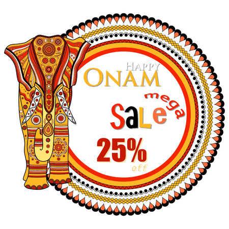malayalam: easy to edit vector illustration of decorated elephant for Happy Onam. Holiday sale