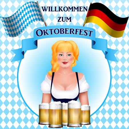 """Mooie blonde meisje met een biertje. Oktoberfest poster. De inscriptie in het Duits """"willkommen zum Oktoberfest"""", engels vertaling """"Welcome to Oktoberfest"""""""