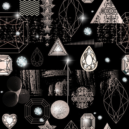 Trendy modern seamless pattern with abstract geometric shapes, crystals, diamonds and ornaments. Endless texture in vintage style. Abstract design poster, cover, card design. Illustration