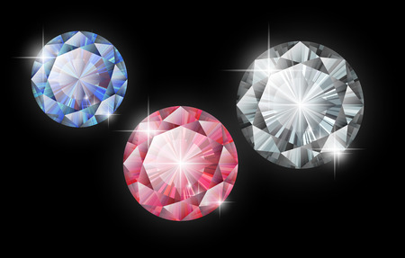 stetting: Vector diamonds. Ruby, sapphire and diamond on a black background. Isolated gems
