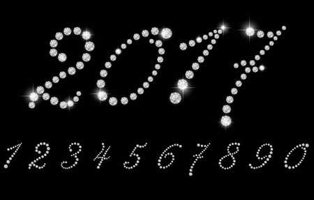 diamond: Number set with realistic diamond, vector illustration. can be used for christmas , happy new year 2017, happy birthday and more.