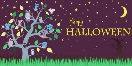 twilight: Halloween background with owls on tree, night sky, moon and the words Happy Halloween