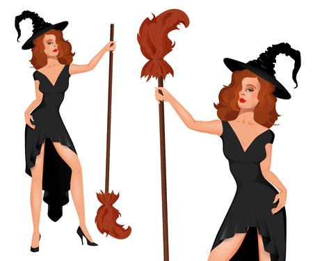 blondie: Young, pretty, sexy witch in a hat with a broom. Halloween. People in carnival costumes. Vector.