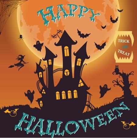 Fête d'Halloween. Sorcière, fantôme, chauve-souris, lune et autres objets sur le thème de l'Halloween. Fond d'Halloween. Illustration vectorielle