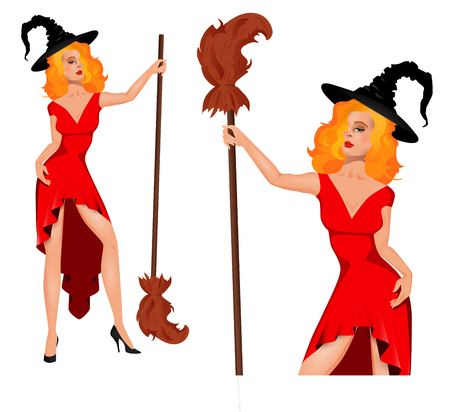 Young, pretty, sexy witch in a hat with a broom. Halloween. People in carnival costumes. Vector.