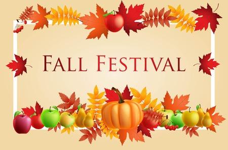Fun Fall Festival Invitation Flyer. Illustration