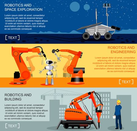 loaders: Robotics and automation horizontal banners set with assembly line and robotic loaders, construction robotics symbols flat isolated vector illustration