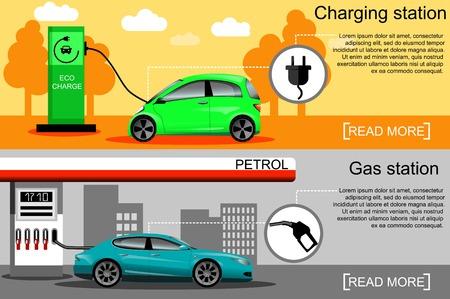 Flache Vektor-Illustration eines Elektroautos Aufladung an der Ladestation und ein Auto Tanken an der Tankstelle. Elektromobilität e-motion Konzept. Ökotreibstoff und Benzin.