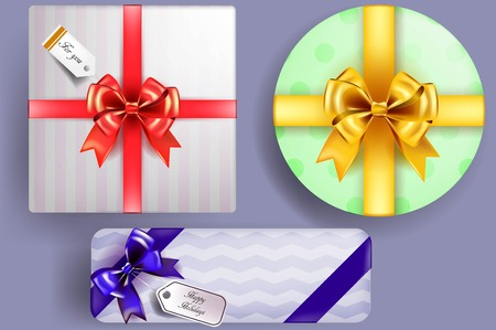 gift wrapping: Vector gift wrapping collection. Boxes for gifts with beautiful colored ribbons