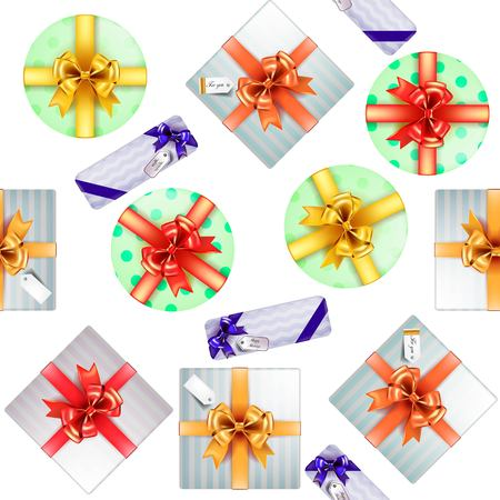 gift wrapping: Vector gift wrapping seamless pattern. Boxes for gifts with beautiful colored ribbons
