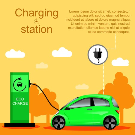 Flat vector illustration of an electric car charging at the charger station. Electromobility e-motion concept. Eco fuel and gasoline. Illustration