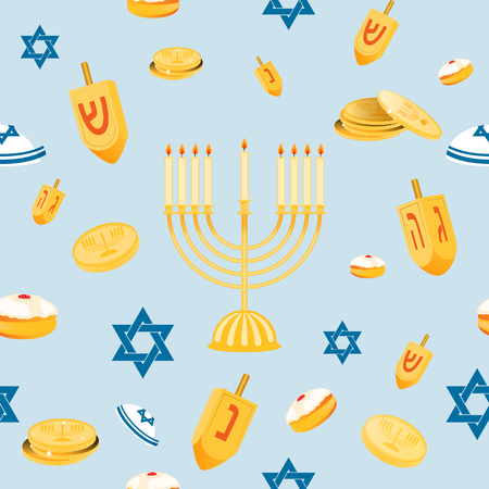 jewish star: Hanukkah seamless pattern with menorah, dreidel, coins, snowflakes, donuts, bows and Jewish star. Perfect for wallpapers, gift papers, patterns fills, textile, Hanukkah greeting cards