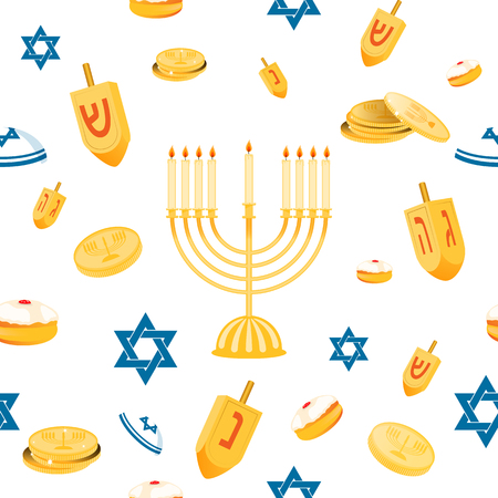 Hanukkah seamless pattern with menorah, dreidel, coins, snowflakes, donuts, bows and Jewish star. Perfect for wallpapers, gift papers, patterns fills, textile, Hanukkah greeting cards