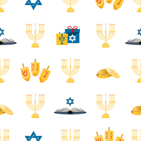 hanuka: Hanukkah seamless pattern with menorah, dreidel, coins, snowflakes, donuts, bows and Jewish star. Perfect for wallpapers, gift papers, patterns fills, textile, Hanukkah greeting cards