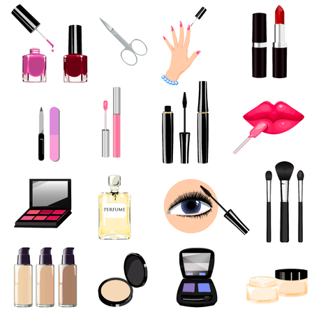 Seth cosmetics, manicure, beauty, perfumes icons. Nail polish, mascara, lipstick, eye shadows, brush, powder, lip gloss, lips. Stock Illustratie