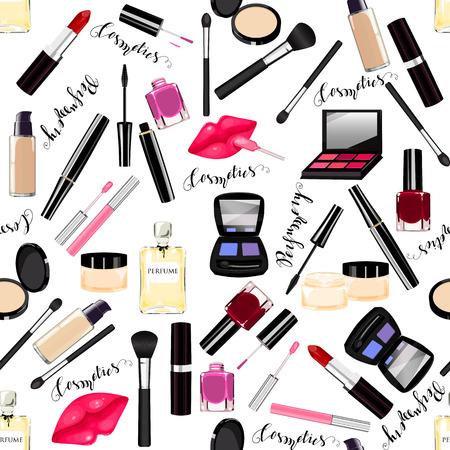 Makeup, perfume, cosmetics seamless pattern. Nail polish, mascara, lipstick, eye shadows, brush, powder, lip gloss, lips. Lettering Perfumes, Cosmetics Illustration