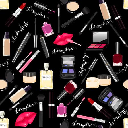 Makeup, perfume, cosmetics seamless pattern. Nail polish, mascara, lipstick, eye shadows, brush, powder, lip gloss, lips. Lettering Perfumes, Cosmetics
