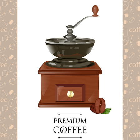 classic coffee grinder in wooden case vector illustration. coffee mill Illustration