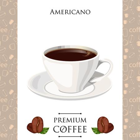 fredo: Cup of coffee. Americano. Vector illustration. Vettoriali