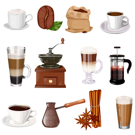 mug shot: Coffee theme vector set. Cup of coffee, latte, espresso, cappuccino, coffee mill, coffee pot, bag of beans