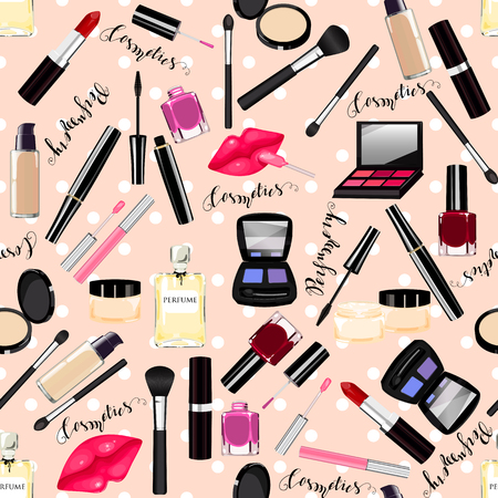 Makeup, perfume, cosmetics seamless pattern. Nail polish, mascara, lipstick, eye shadows, brush, powder, lip gloss, lips.