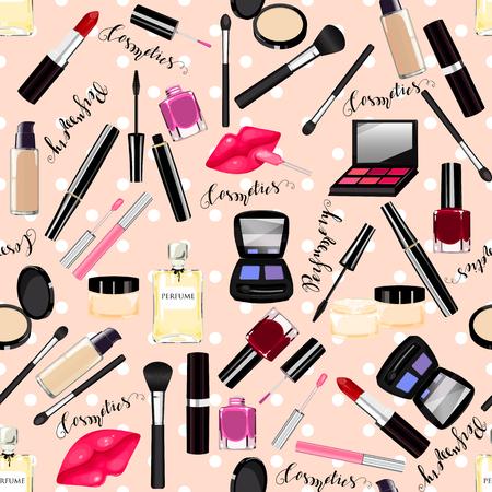 Makeup, perfume, cosmetics seamless pattern. Nail polish, mascara, lipstick, eye shadows, brush, powder, lip gloss, lips.