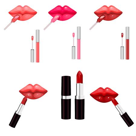 Light pink lip gloss and lip stick isolated on white. Make-up set for lips. Vector illustration Illustration