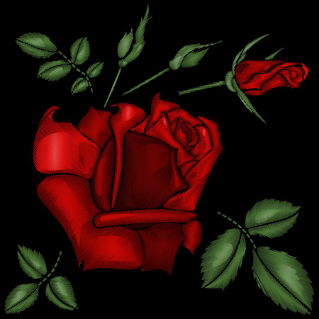 red roses embroidery Ilustrace