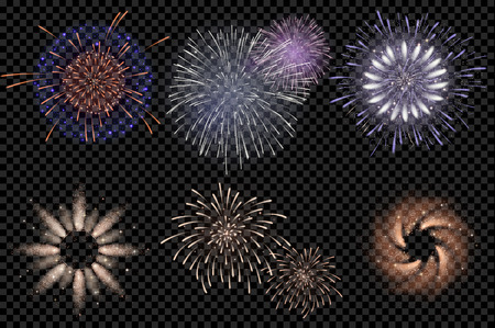 fire crackers: set of isolated vector fireworks on a transparent background