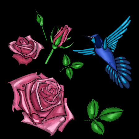 red rose and bird embroidery