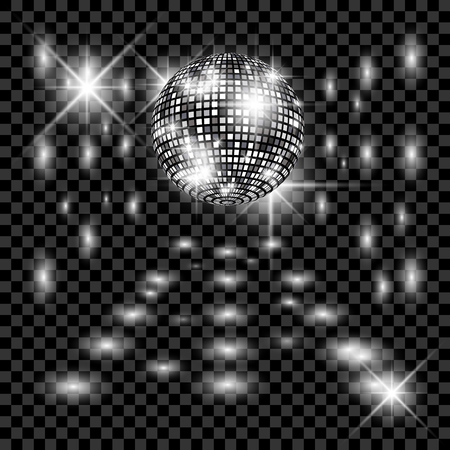Disco ball with glow. Really transparency effect. Ilustração