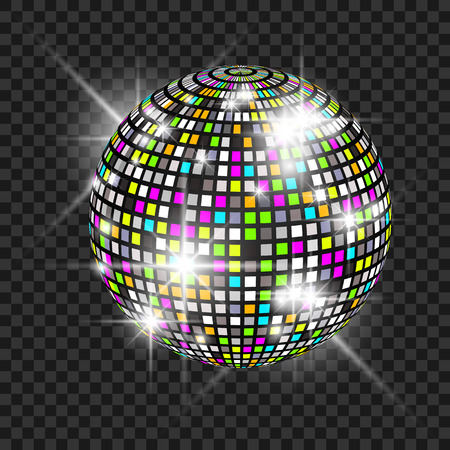 fluorescence: Disco ball with glow. Really transparency effect. Disco background. Template for your design Illustration