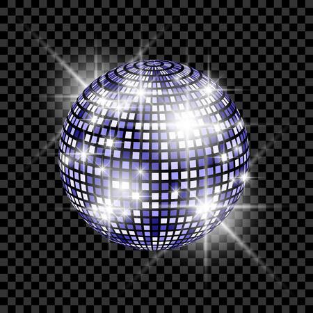 Blauwe Disco Ball geïsoleerd op een transparante achtergrond. Vector EPS 10 illustratie Stock Illustratie