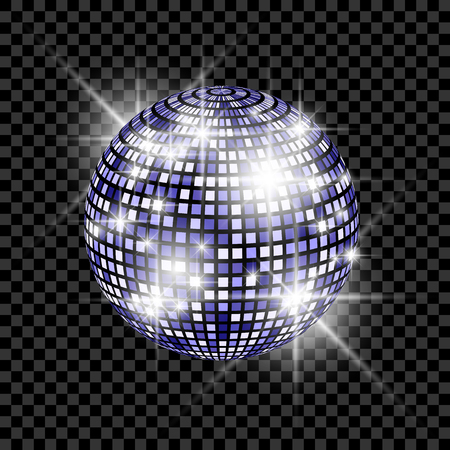 Blue Disco Ball isolated on a transparent background. Vector EPS 10 illustration