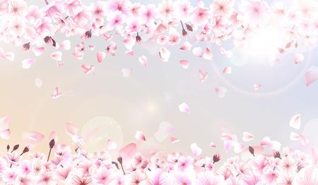 Blooming cherry. Spring background. Falling sakura pink petals. Illustration