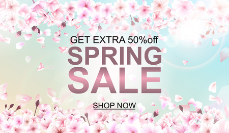 Advertisement about the spring sale on defocused background with beautiful cherry blossom. Vector illustration.