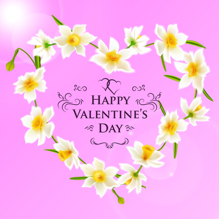 Spring flowers heart shaped wreath of daffodil narcissus. Valentine's day greeting card.