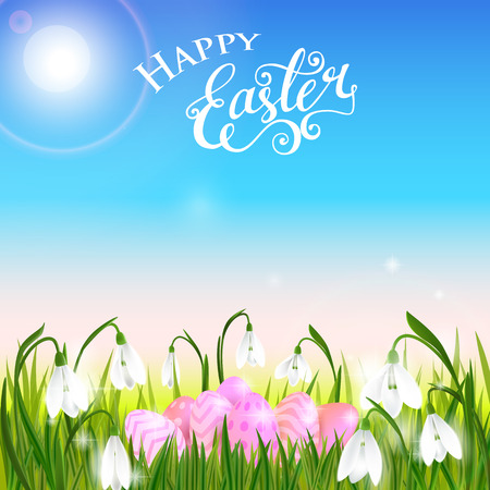 Happy Easter card with eggs, spring flowers, green grass and blue sky, lettering, calligraphy. Vector illustration EPS10.