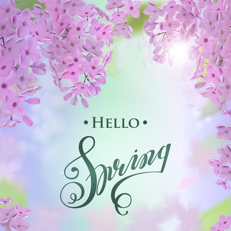 Vector web banners with purple, pink, blue and white lilac flowers. Illustration
