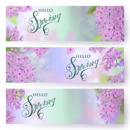 purple flowers: Spring background with pink and purple flowers of lilac. Can be used for background, wallpaper, greeting card, web. Lettering Spring. Vector horizontal banner. EPS10