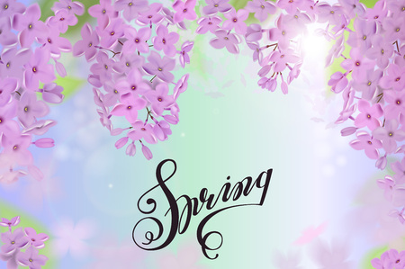 Spring background with pink and purple flowers of lilac. Lettering Spring Illustration