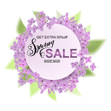 Advertisement about the spring sale on background with beautiful lilac blossom, Lettering, calligraphy. Round frame for text flower, delicate wreath. A seasonal discount. Vector illustration.