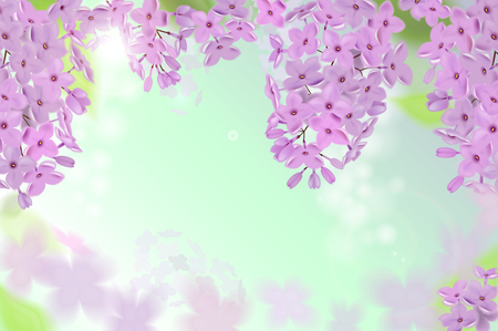 Spring background with pink and purple flowers of lilac. Can be used for background, wallpaper, greeting card web banner. Stock Photo