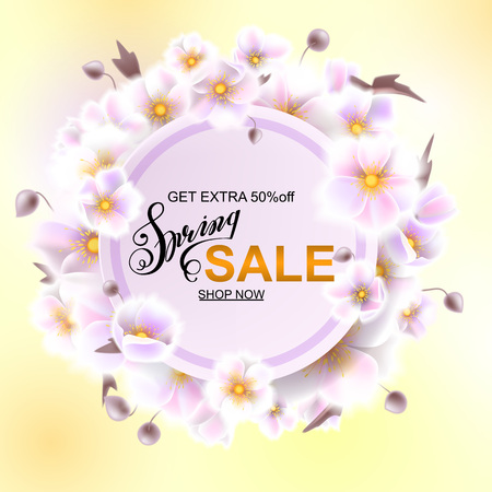 Advertisement about the spring sale on background with beautiful white flowers, Lettering, calligraphy. Round frame for text flower, delicate wreath. A seasonal discount. Vector illustration eps10