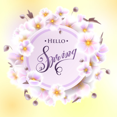 Greeting card with white flowers, can be used as invitation card for wedding, birthday and other holiday and summer, spring background. Round frame for text flower, delicate wreath. Vector EPS10