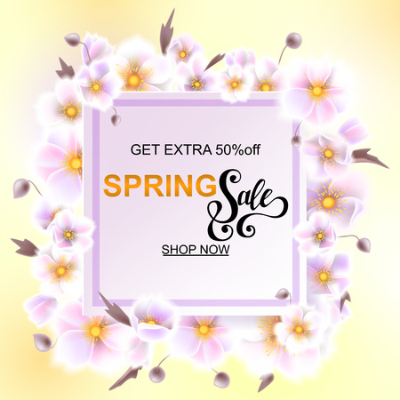 Advertisement about the spring sale on background with beautiful white flowers, Lettering, calligraphy. Square frame for text flower, delicate wreath. A seasonal discount. Vector illustration eps10