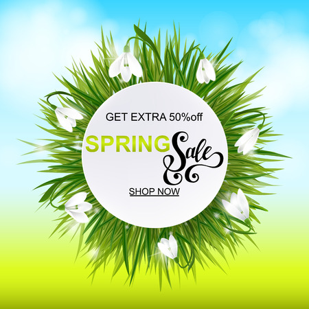 Advertisement about the spring sale on background with grass and snowdrop Galanthus flowers. Vector illustration eps10 Illustration