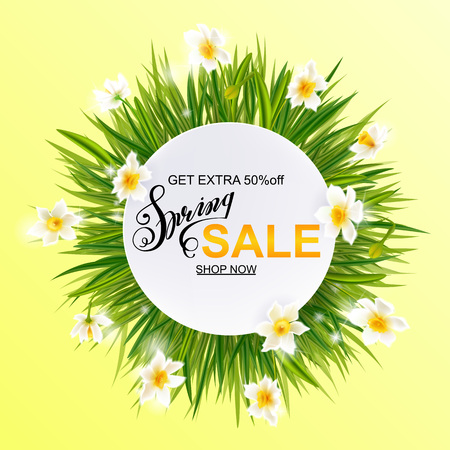 Advertisement about the spring sale on background with grass and daffodil narcissus flowers. Vector illustration eps10